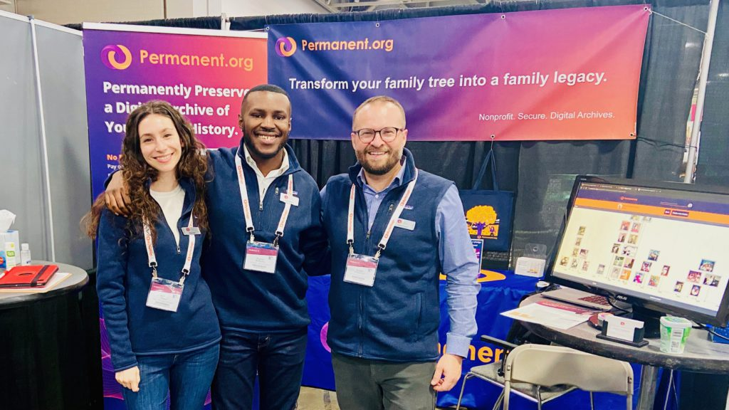 The Permanent team at RootsTech 2020. From left to right, Megan, Bryson and Robert.